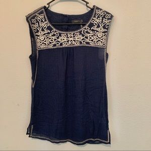 THML dark blue embroidery top M